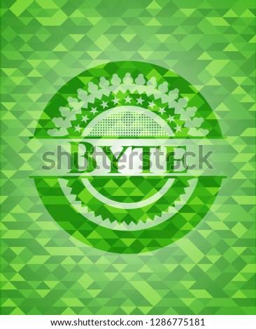Byte realistic green mosaic emblem