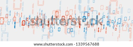 Bytes of binary code run through network. Abstract futuristic syberspace. Modern Technology background