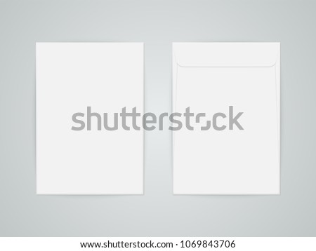 C4 blank mockup white letter paper envelope. Vector template of A4 C4, A5 C5, A3 C3