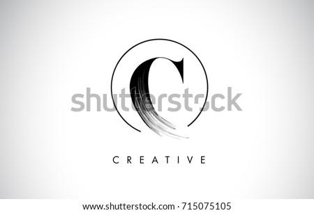 c brush stroke letter logo