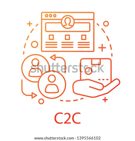 C2C concept icon. Commercial relationship idea thin line illustration. Web portal with purchase advertisement. E commerce with sale between consumers. Vector isolated outline drawing