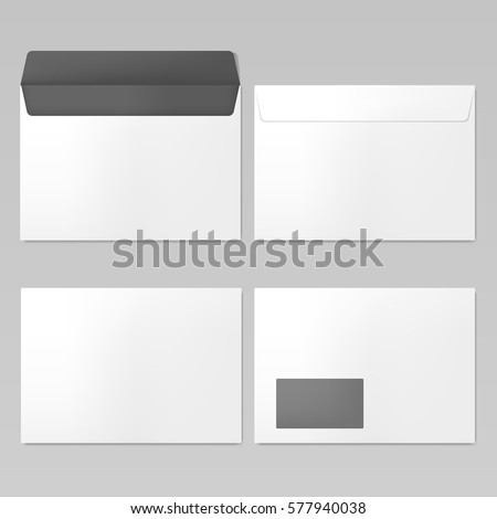 C6 Envelopes mockup front and back view, vector illustration