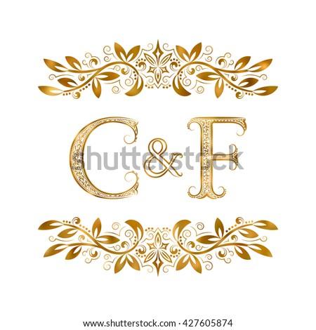 c f vintage initials logo