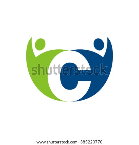 C Initial Alphabet Letter Logo With Teamwork Swoosh Man