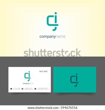 c   j letter logo  with