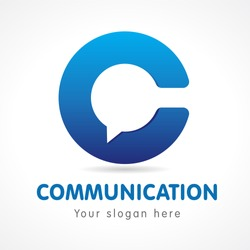 C letter communicate logo. Business or educational consult, blue colored volume sign. FAQ, I.Q., contact us, computer or smartphone settings, speak icon.