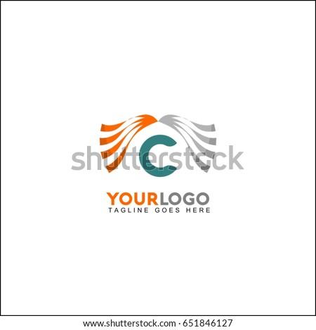 C letter line clinic logo with dynamic elements. Wave concept vector design.