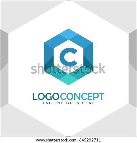C Letter Logo Icon Mosaic Pattern Design template Element