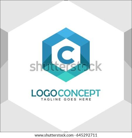 C Letter Logo Icon Mosaic Pattern Design template Element