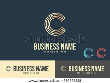 C letter logo template design vector