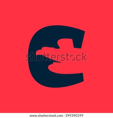 c letter logo with eagle