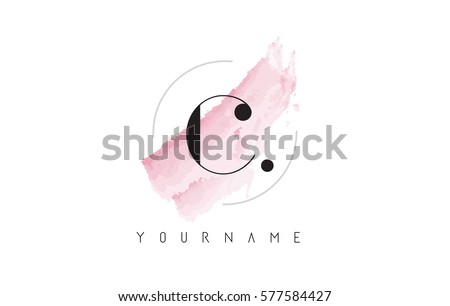 c letter logo with watercolor