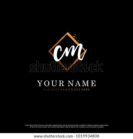 c m initial abstract logo
