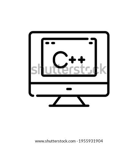 C plus plus programming language. C plus plus outline vector icon. computer with c++ programming concept. Thin line black on a computer icon