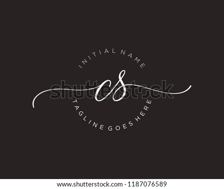 C S Initial handwriting logo vector. Hand lettering for designs