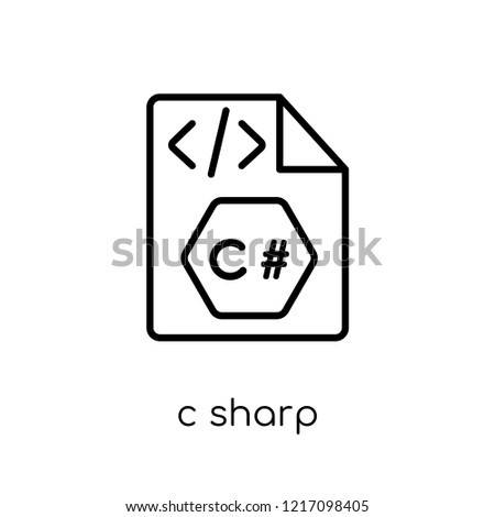C sharp icon. Trendy modern flat linear vector C sharp icon on white background from thin line Programming collection, editable outline stroke vector illustration