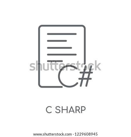 C sharp linear icon. Modern outline C sharp logo concept on white background from Programming collection. Suitable for use on web apps, mobile apps and print media.