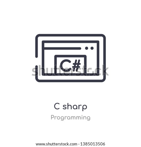 c sharp outline icon. isolated line vector illustration from programming collection. editable thin stroke c sharp icon on white background