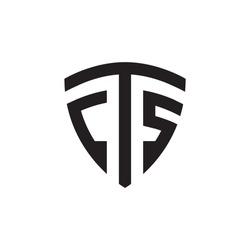 C T S shield letter logo design concept