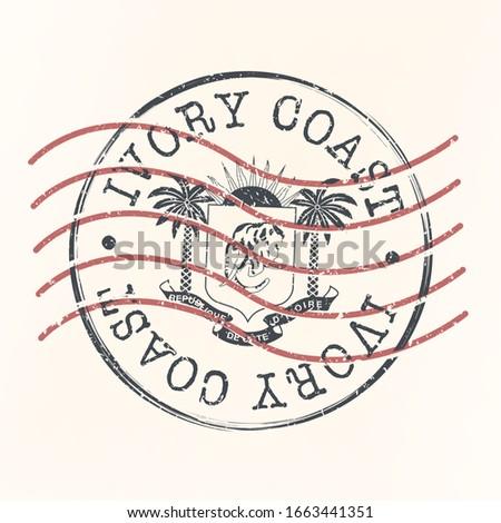 Côte d'Ivoire Flag Stamp Postal. Silhouette Seal. Passport Round Design. Vector Icon. Design Retro Travel. National Symbol. Photo stock ©