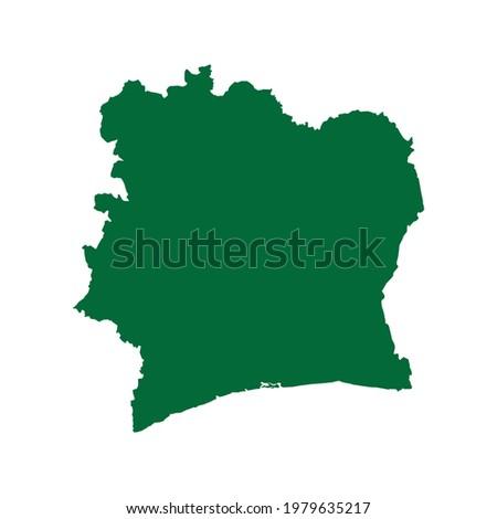 Côte d'Ivoire Map. Côte d'Ivoire map illustration. Côte d'Ivoire map flat chart. Côte d'Ivoire map vector silhouette Photo stock ©