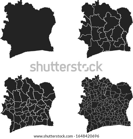 Côte d'Ivoire vector maps with administrative regions, municipalities, departments, borders Photo stock ©