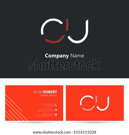 C & U joint logo letter design with business card template Foto stock ©