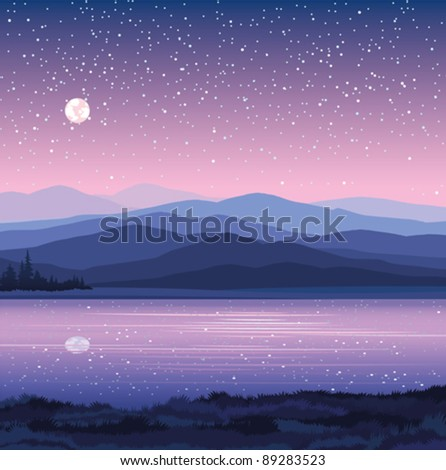c with mountains, lake and forest on a starry sky background