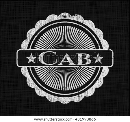 Cab chalk emblem, retro style, chalk or chalkboard texture