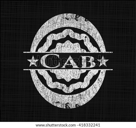 Cab chalk emblem written on a blackboard