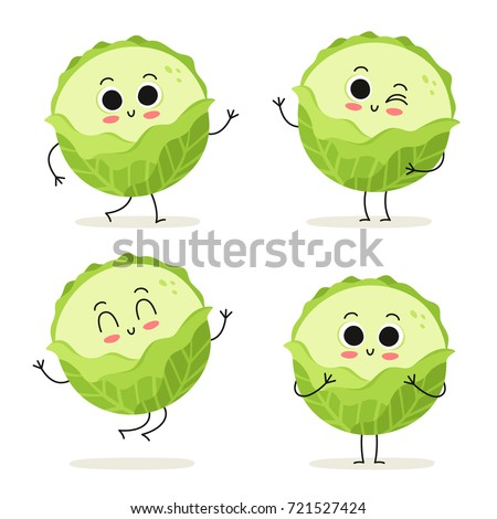 Cabbage. Cute vegetable vector character set isolated on white