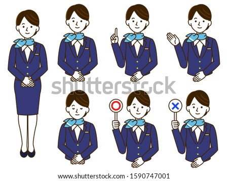 cabin attendant   Uniform female simple illustration set