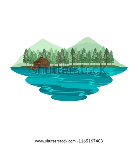 Cabin Hut Cottage on Lake and Camping Mountain View Summer and Spring Landscape Vector