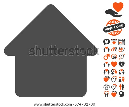 Cabin icon with bonus decoration pictograms. Vector illustration style is flat iconic symbols for web design, app user interfaces.
