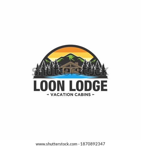 Cabin Logo template with mountain and lake view in forest Photo stock ©