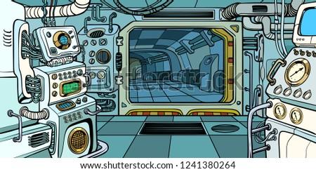 Cabin of the spacecraft. Pop art retro vector illustration kitsch vintage