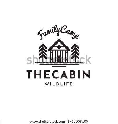 Cabin Vintage Hipster Logo Design Template Vector illustration Photo stock ©