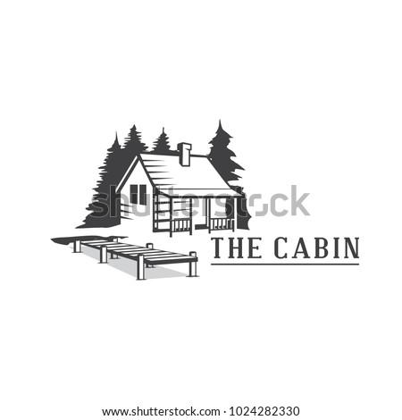 Cabin with dock logo vector