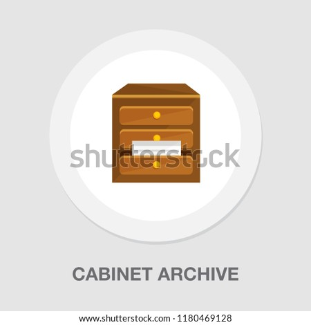 cabinet archive icon -  vector file drawer - office storage - business business