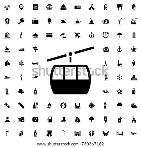 Cable car icon vector isolated on white background. set of filled tourism icons.