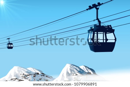 cable car on the snow mountain
