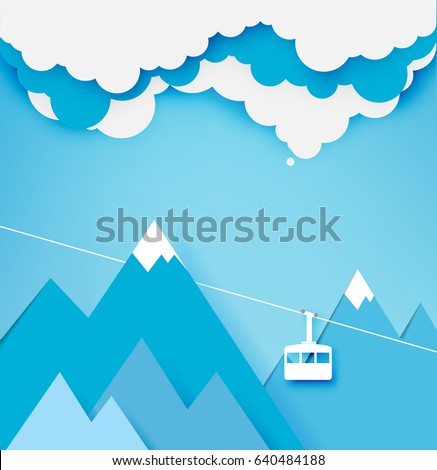 cable car paper art style with