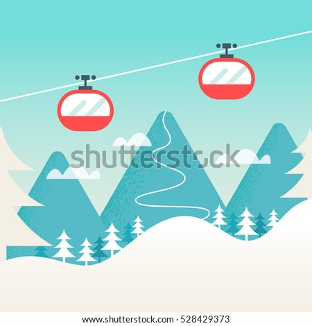 Cable Cars and Snowy Mountain Landscape. Ski Winter Resort, Hills and Slopes Background