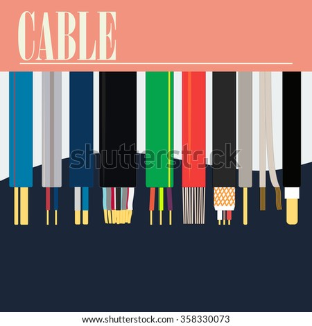 Cable of different section. A die with a word in top of a picture. A version of electric cables. Uses of the poster in the industry.