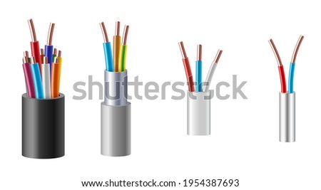 Cable wire, electric, fiber or copper power in cut, realistic set. Structure of cords and insulation optic, internet and coaxial cable conductors. 3d vector illustration ストックフォト ©