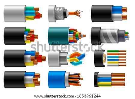 Cable wire, electric, fiber or copper power in cut, vector isolated set. Cable wires structure of cords and insulation optic, internet and coaxial cable conductors with color cords in cross section Сток-фото ©