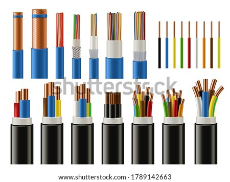 Cables and wires realistic vector of electrical power, network, television and telephone. Energy cables with insulated copper conductors, twisted pairs, multicore coaxial and fiber optic wires Foto stock ©