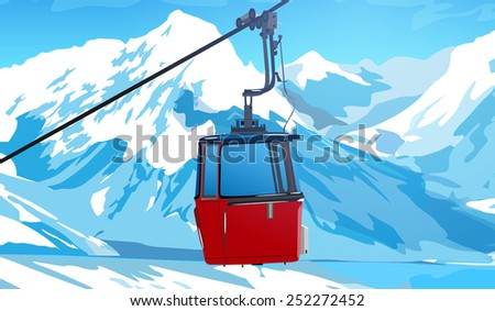 cableway in swiss alps at
