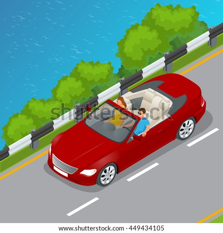 cabriolet car isometric vector