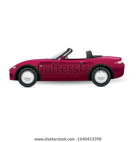 Cabriolet car. sports red car on road vector realistic pictures. Auto realistic, car vehicle cabriolet, automobile illustration.